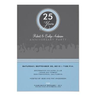 Modern Anniversary Party Invitation (grey/blue)