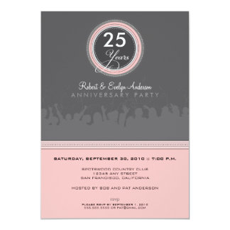 "Modern Anniversary Party Invitation (grey/pink) 5"" X 7"" Invitation Card"