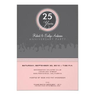 Modern Anniversary Party Invitation (grey/pink)