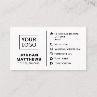 Modern any color add logo social media icons business card