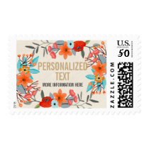 Modern Any Occassion Floral and Gold Personalized Postage