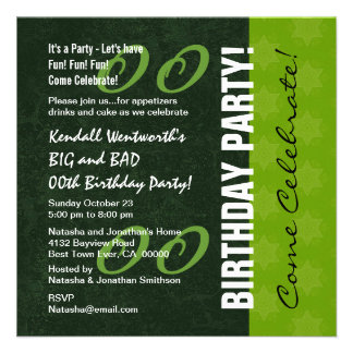 Modern Any Year Birthday Party V02B GREEN Personalized Invitations