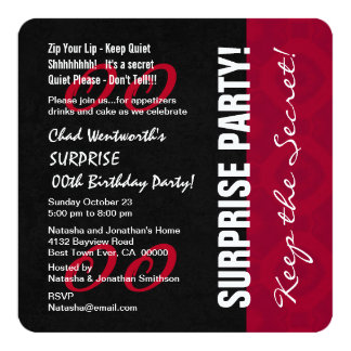 Modern Any Year SURPRISE Birthday V09 RED BLACK Card