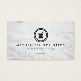 Modern Apothecary Holistic Medicine White Marble Business Card