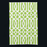 """Modern Apple Green and White Trellis Pattern Hand Towel<br><div class=""""desc"""">Add some style to your kitchen with these cute,  trendy apple green and white trellis pattern kitchen towels.</div>"""
