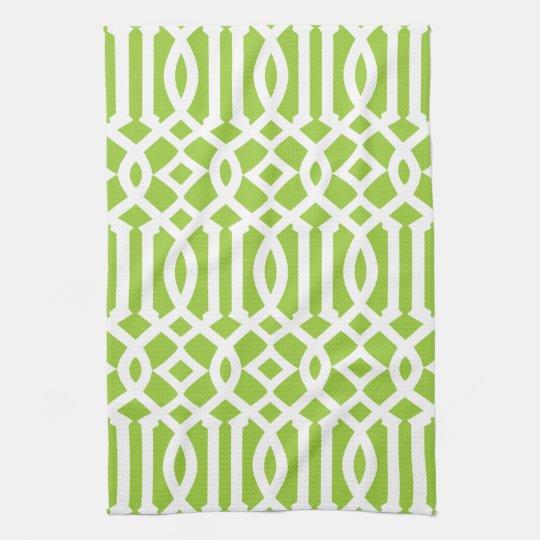 Modern Apple Green And White Trellis Pattern Hand Towel