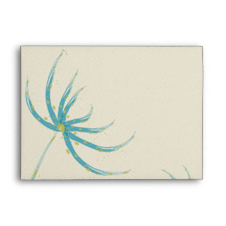 Modern Aqua and Chartreuse Wild Flower Wedding Envelope