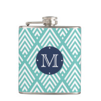 Modern Aqua and Navy Chevron Diamond Monogram Flask