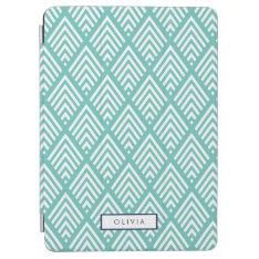 Modern Aqua and White Chevron Diamond Pattern iPad Air Cover at Zazzle