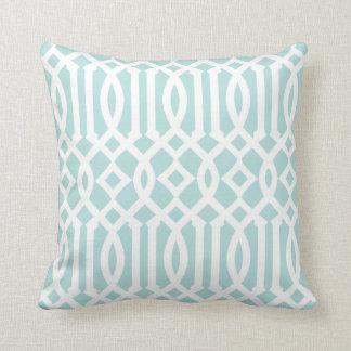 Modern Aqua and White Imperial Trellis Throw Pillow