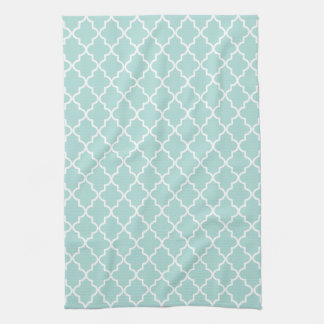 Modern Aqua and White Moroccan Quatrefoil Towels