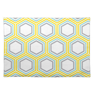 Modern Aqua and Yellow Geometric Pattern Placemat