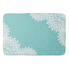 Modern Aqua Blue And White Floral Bath Mat at Zazzle