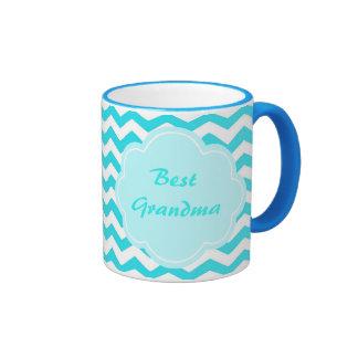 modern aqua blue chevron best grandma ringer coffee mug