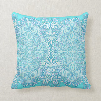 Modern Aqua Blue Damask Throw Pillow