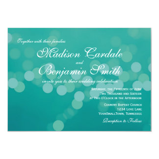 "Modern Aqua Blue Green Bokeh Wedding Invitations 4.5"" X 6.25"" Invitation Card"