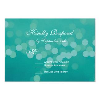 Modern Aqua Blue Green Bokeh Wedding RSVP Cards