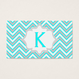 Modern aqua blue, grey chevron monogram business card