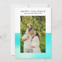 Modern Aqua Blue Happy Holiday Photo Card