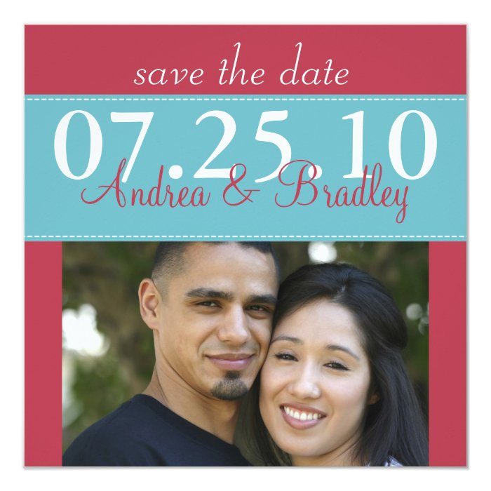 Modern Aqua Blue Red Wedding Photo Save the Date Card