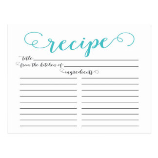 Modern Aqua Blue Script Bridal Shower Recipe Cards