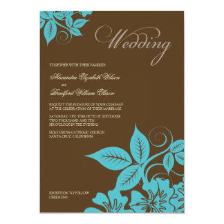 Modern Aqua/Brown Floral Wedding Invitation