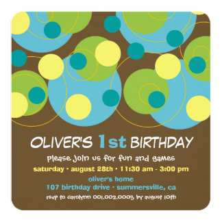 Modern Aqua Bubble Dots Boy 1st Birthday Invite