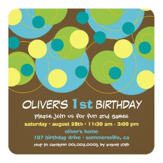 Modern Aqua Bubble Dots Boy 1st Birthday Invite