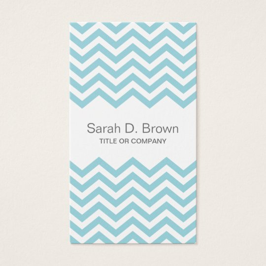 Modern aqua chevron pattern business card