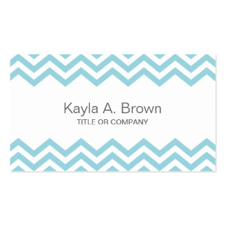 Modern aqua chevron pattern business card