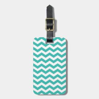 Modern Aqua Chevron Stripes Luggage Tag