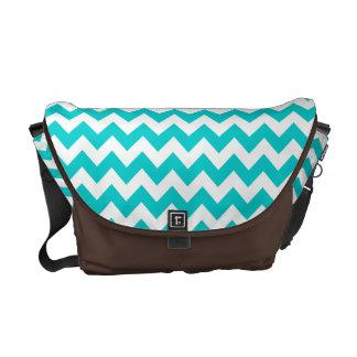 Modern Aqua Chevron Zig Zag Stripe Bag Tote Purse Messenger Bag