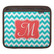 Modern Aqua Coral Chevron Monogram IPAD Laptop Bag iPad Sleeve