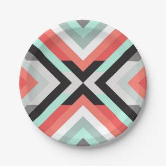 Modern Aqua Coral Geometric Color Block Design Paper Plate