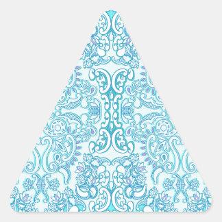 Modern Aqua Damask Triangle Sticker