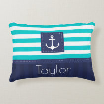 Modern Aqua Dark Blue Nautical Anchor Design Accent Pillow
