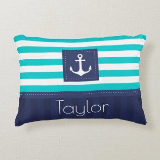 Modern Aqua Dark Blue Nautical Anchor Design Accent Pillow