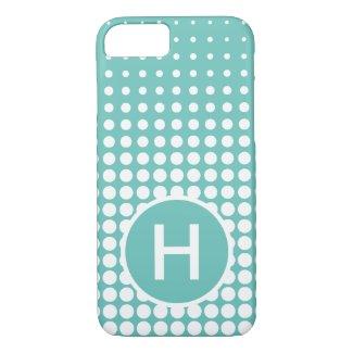 Modern Aqua Green White Dots Pattern Monogram iPhone 8/7 Case