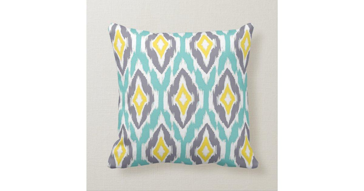 Modern aqua grey yellow Ikat Tribal Pattern 1a Throw Pillow Zazzle