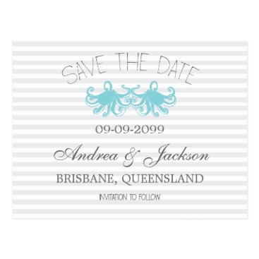 Beach Themed Modern Aqua Octopus Beach Save the Date Cards
