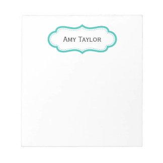 Modern Aqua Personalized Notepad