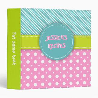 Modern aqua, pink, green polka dot & stripes binder