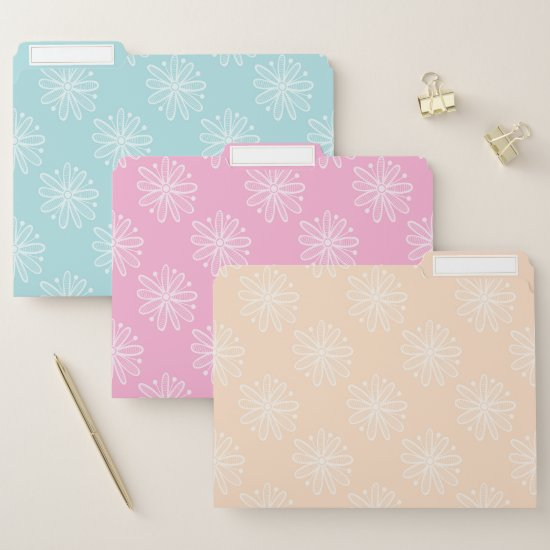 Modern Aqua Pink Yellow Floral File Folder