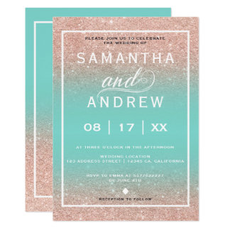 Modern Aqua rose gold typography wedding Invitation