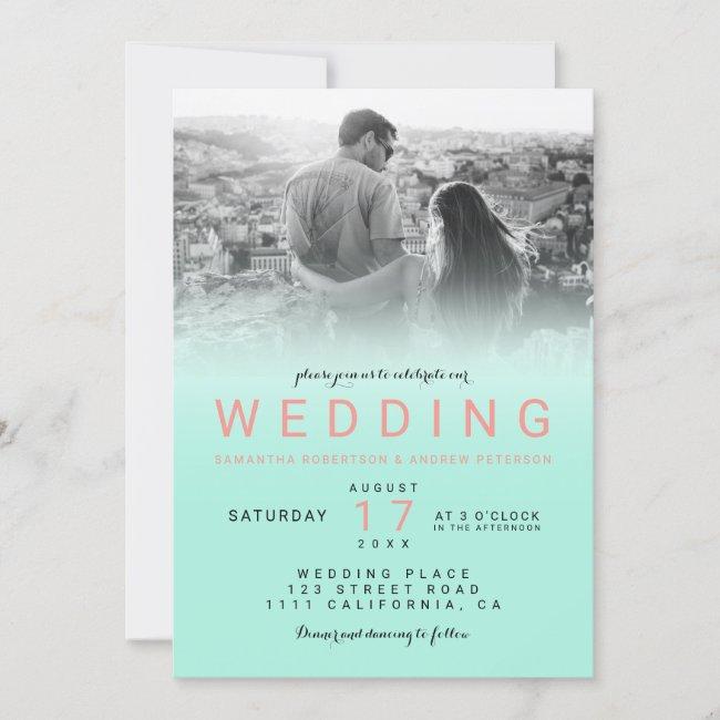 Modern aqua teal ombre coral simple photo wedding invitation