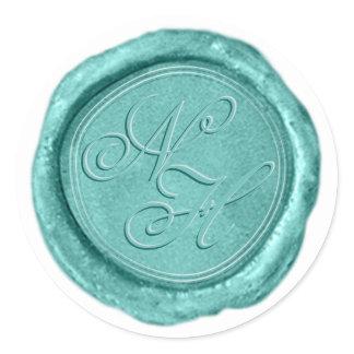 Modern Aqua Teal Wax Seal Monogram Sticker