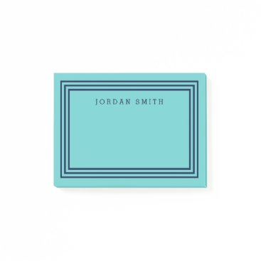 Beach Themed Modern Aqua Teal with Triple Navy Blue Borders Post-it Notes