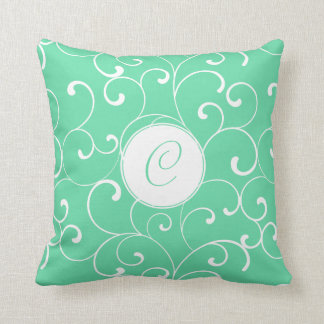 Modern Aqua Whimsical Curls with Monogram Throw Pillow
