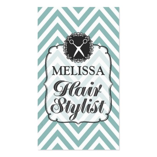 Modern Aqua White Chevron Hair Stylist Cards Business Card Templates