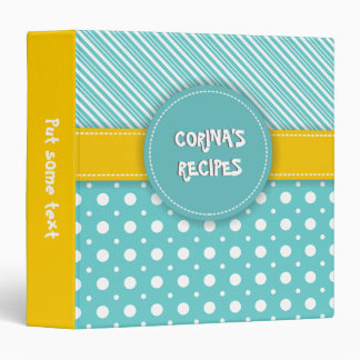 Modern aqua, white, yellow polka dot & stripes 3 ring binder